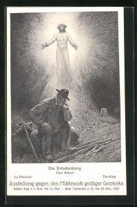 AK Zug, Mann sinniert auf einem Stein, Anti-Alkohol, Ausstellung gegen den Missbrauch geistiger Getränke 1922