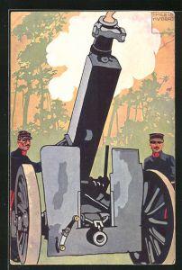 Künstler-AK sign. Emile Hubert: Soldaten in Uniformen mit Kanone