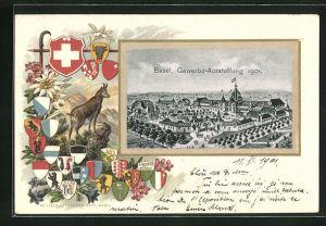 Passepartout-Lithographie Basel, Gewerbe-Ausstellung 1901, Ausstellungshalle