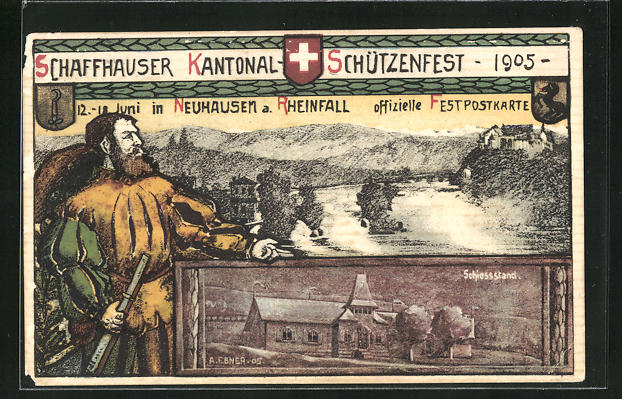 AK Neuhausen a. Rheinfall, Schaffhauser Kantonal-Schützenfest 1905, Schiessstand, Teilansicht 0