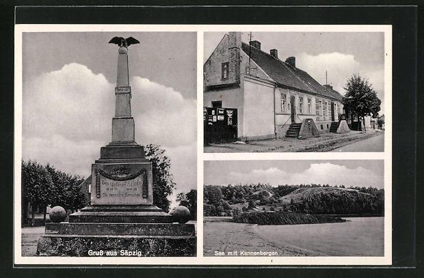 AK Säpzig, Ansicht vom Kriegerdenkmal, See mit Kannenbergen