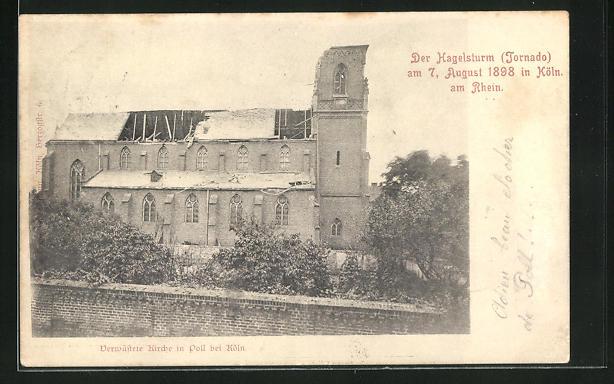 AK Poll, Hagelsturm am 7. August 1898, verwüstete Kirche