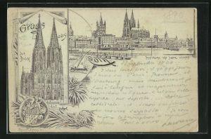 Vorläufer-Lithographie Cöln, 1890, Panorama von Deutz gesehen, Dom