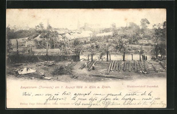 AK Köln-Bayenthal, Maschinenfabrik nach dem Hagelsturm 1898