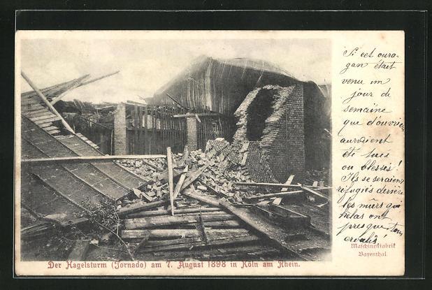 AK Köln-Bayenthal, Hagelsturm 1898, verwüstete Maschinenfabrik