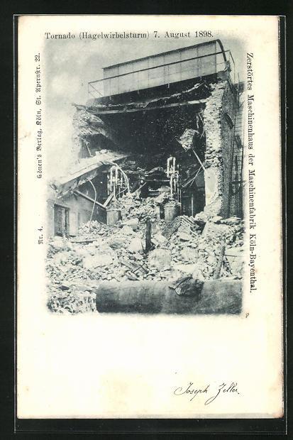 AK Köln-Bayenthal, Tornado August 1898, zerstörtes Maschinenhaus der Maschinenfabrik
