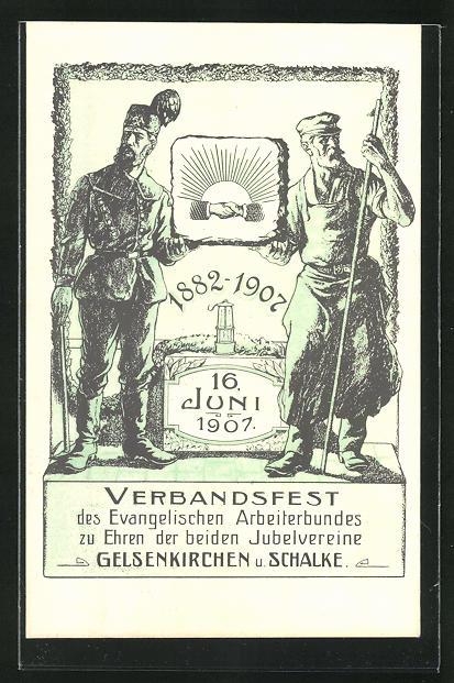 AK Gelsenkirchen-Schalke, Verbandsfest des Ev. Arbeitesbundes zu Ehren der beiden Jubelvereine 1907