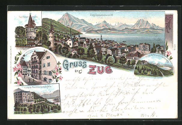 Lithographie Zug, Hotel & Pension Schönfels, Rathaus, Kapuzinerthurm