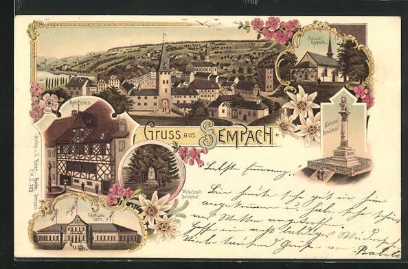 Lithographie Sempach, Rathaus, National-Denkmal, Festhütte, Schlacht-Kapelle