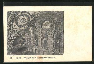 AK Totenschädel und Skelette in Kutten, Roma Ossario nel Convento dei Cappuccini
