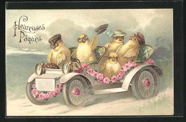 Präge-AK Osterküken im Automobil mit Hüten