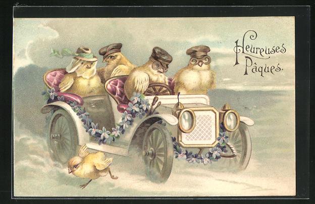 Präge-AK Osterküken im Automobil mit Brillen und Hüten