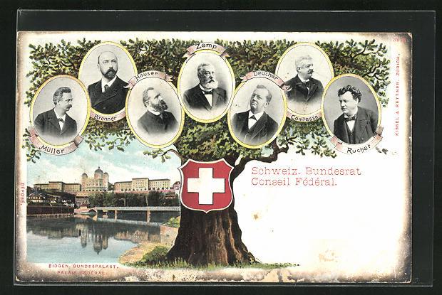 AK Schweizer Bundesrat, Zemp, Hauser, Brenner, Müller, Eidgen. Bundespalast 0