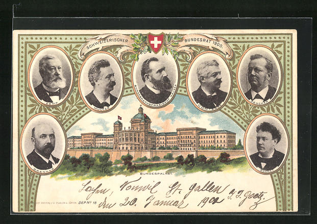 AK Schweizer Bundesrat 1900, Hauser, Deucher, Müller, Zemp, Bundespalast