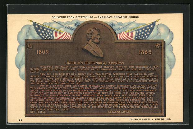 AK Präsident der USA, Abraham Lincoln`s Gettyburg Address