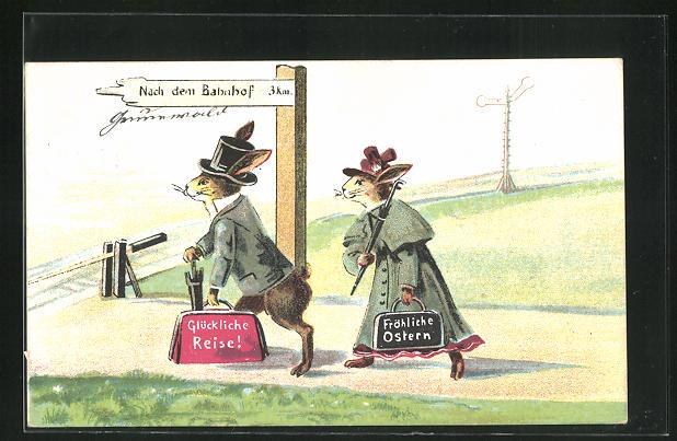 AK Osterhasen in Kleidung mit Taschen zum Bahnhof unterwegs, Fröhliche Ostern