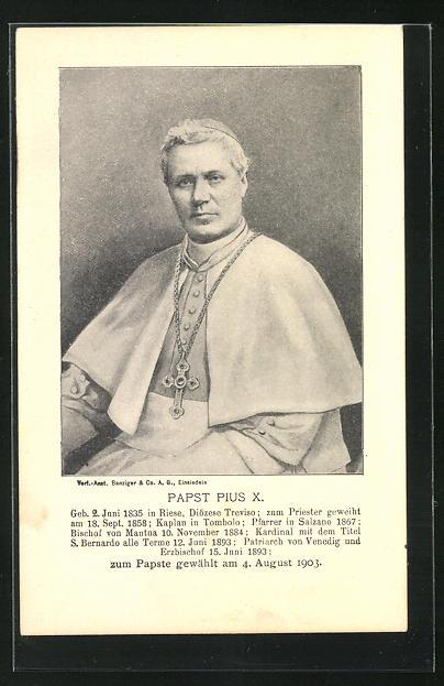 AK Papst Pius X. mit grosser Kreuzkette, zum Papste gewählt am 4. August 1903