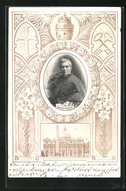 Passepartout-AK Papst Pius X., Petersdom, Blumen, Tiara, Schlüssel und Kreuz