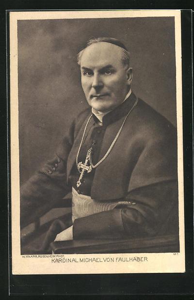 AK Kardinal Michael von Faulhaber mit Kreuzkette und Schärpe