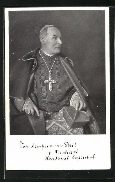 AK Kardinal Dr. Michael von Faulhaber, Erzbischof von München-Freising mit grosser Kreuzkette