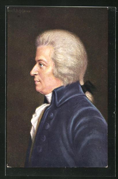 AK Wolfgang Amadeus Mozart in blauem Anzug mit Perücke