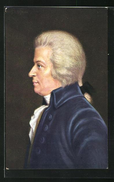 AK Wolfgang Amadeus Mozart mit Perücke in blauem Anzug
