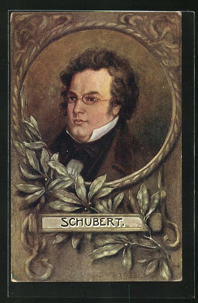 Passepartout-AK Franz Schubert mit Brille mit Blättern am Rahmen