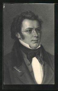 AK Franz Schubert als junger Mann mit Brille und Koteletten, Halstuch am Kragen