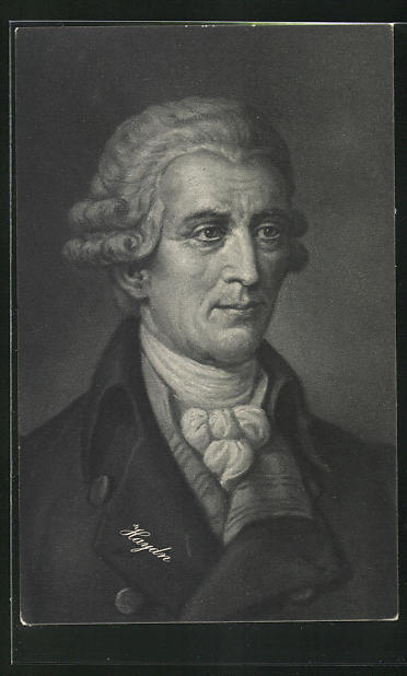 AK Joseph Haydn mit Perücke und Halstuch in Mantel mit grossem Kragen