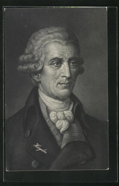 AK Joseph Haydn in Mantel mit weitem Kragen und Perücke