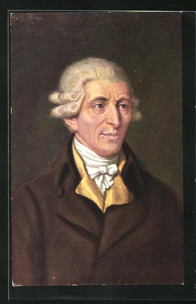 AK Joseph Haydn in braunem Mantel und gelben Kragen mit Halstuch und Perücke