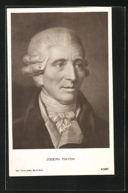 AK Joseph Haydn mit Perücke und Halstuch, gemusterter Kragen