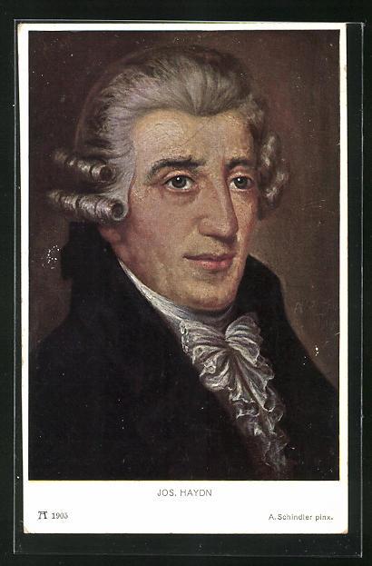 AK Joseph Haydn in mittleren Jahren mit Rüschenkragen und Perücke
