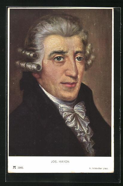 AK Joseph Haydn mit Rüschenhalstuch und grauer Perücke