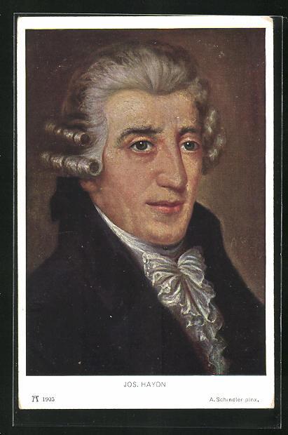 AK Joseph Haydn mit grauer Perücke und Rüschentuch