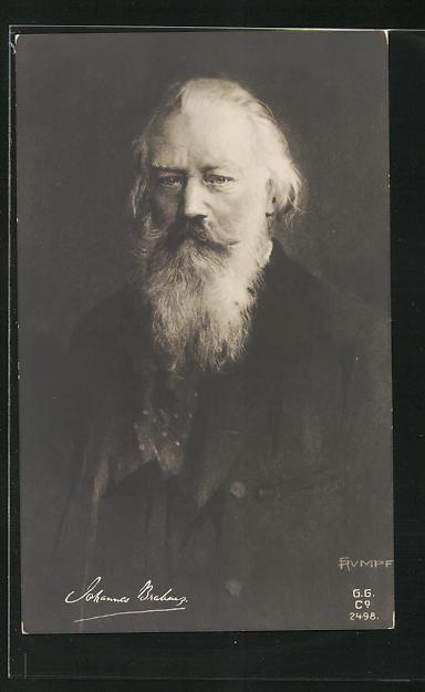 AK Johannes Brahms als alter Mann mit langem Vollbart und gemustertem Tuch