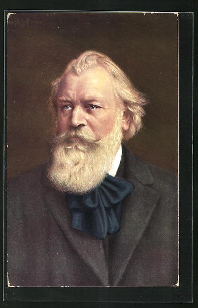 AK Johannes Brahms mit blauem Halstuch und weissem Vollbart