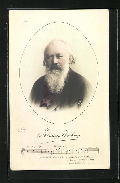 AK Johannes Brahms mit langem Vollbart und gemustertem Tuch, Noten zum Ständchen