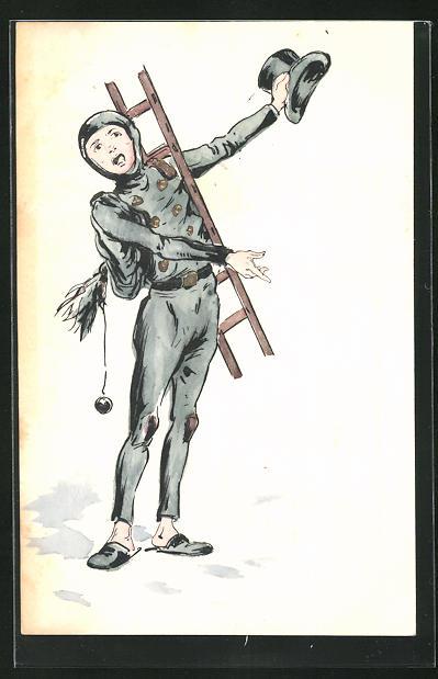 Präge-AK Schornsteinfeger mit Leiter und Zylinder zeigt fragend auf den Boden 0