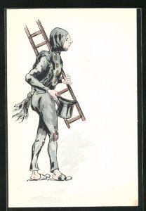 Präge-AK Schornsteinfeger trägt Leiter über der Schulter und Zylinder in der Hand