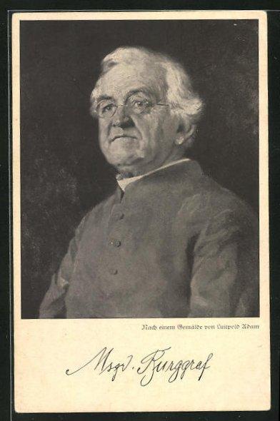 AK Portrait Monsignore Burggraf, Stadtpfarrer von Maria Himmelfahrt in München-Neuhausen