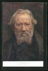 AK Bildhauer Vincenzo Vela, Halbportrait mit Bart