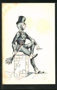 Präge-AK Schornsteinfeger sitzt auf einem Schornstein und raucht eine Zigarette
