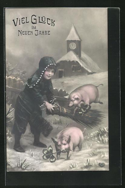AK Junger Schornsteinfeger kümmert sich um die Glücksschweine, Glück im neuen Jahre 0
