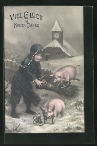 AK Junger Schornsteinfeger kümmert sich um die Glücksschweine, Glück im neuen Jahre
