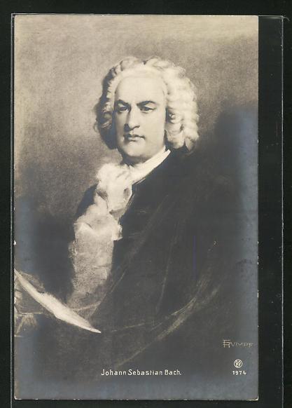 AK Komponist Johann Sebastian Bach, Halbportrait mit weisser Perücke