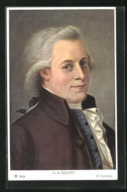 AK Komponist W. A. Mozart, Halbportrait