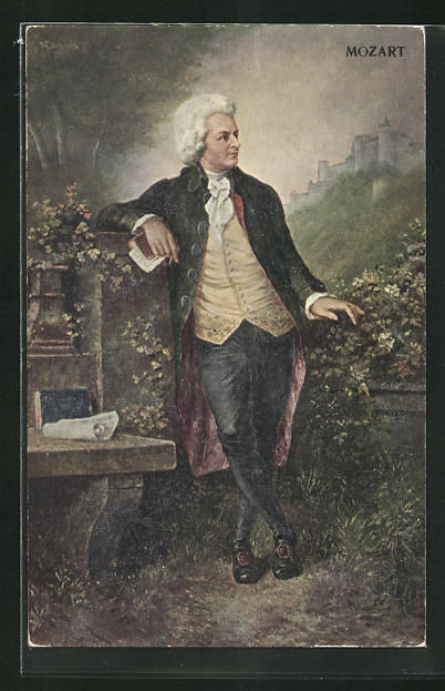AK Komponist Wolfgang Amadeus Mozart blickt zur Festung Hohensalzburg