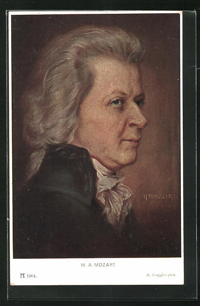 AK Komponist Wolfgang Amadeus Mozart, Portrait