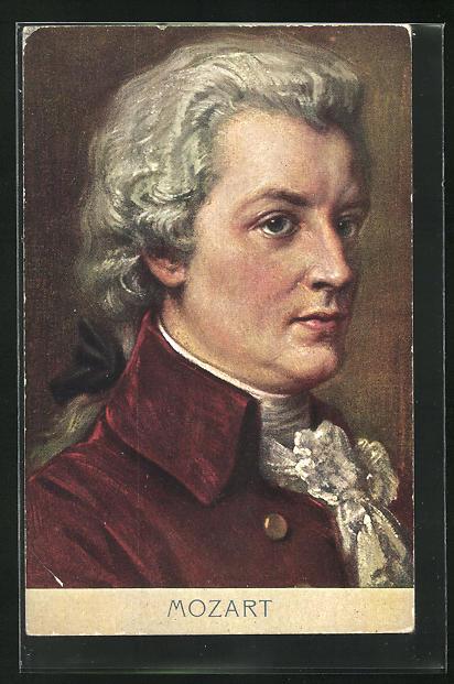 AK Komponist Wolfgang Amadeus Mozart, Halbportrait mit roter Jacke